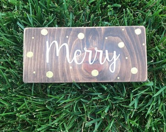 Gold sparkly dot merry Christmas wood sign. Merry handpainted wood sign.