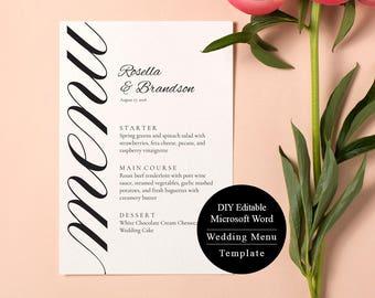 Printable Wedding Menu Card, Menu Template, Wedding Menu Template, Wedding Instant Download, Wedding Menu MSW86
