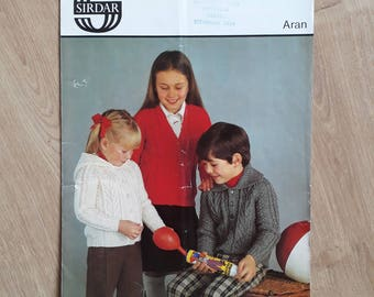 Sirdar Aran 4313 Childrens Aran Knitting Pattern, Childs Aran Cardigan Jacket Knitting Pattern, Aran Cardigan Kintting pattern