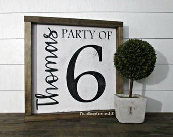Family Sign, Party of 6 sign, Party of 5, Family Name sign, Framed wood sign, Family number sign, Farmhouse Decor, gift for mom, Mothers Day