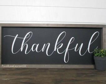 Thankful sign, Thankful wood sign, Framed wood sign, Farmhouse decor, Rustic Decor, Living Room Sign, Kitchen Sign, Gift for her