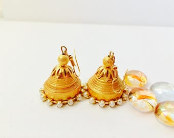 SALE -Paper Jewelry, Quilled earrings,Paper quilled jewelry,Handmade Quilled Earrings, Paper Earrings, Jhumka, Gold Earrings, Paper Jhumka