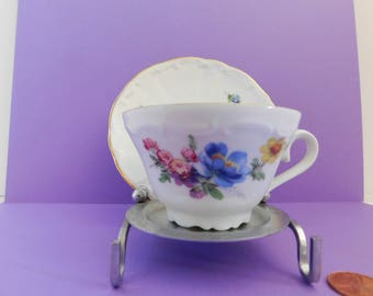 Bareuther Waldsassen Demitasse cup & saucer Vintage Bareuther Waldsassen Bavarian Germany Demitasse with flowers