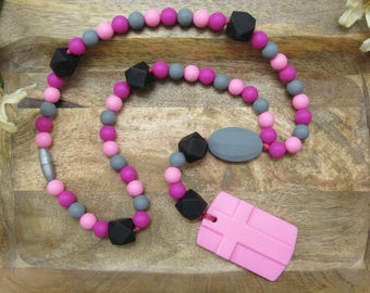 Teething Chew Rosary for Baby & Children, 100% Food Grade Silicone Beads, BPA Free, Catholic Baptism Gift