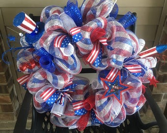 On sale!! Patriotic wreath,Patriotic wreaths for front door,Fourth of July wreath,Summer wreath,July 4th wreath