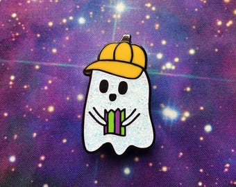 Trick or treat pumpkin ghost enamel pin