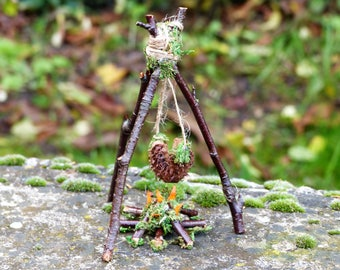 Fairy Campfire & Marshmallows - Miniature, Fairies, Camping, Fairy Garden, Dollhouse,Fathers Day Gift, Miniature Garden, Twig Furniture