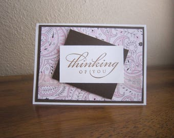 SALE! * Pink Paisley Thinking of you Sympathy Card