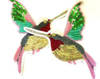 Left or Right Facing Sequinned Humming Bird Sew on Patches - H493