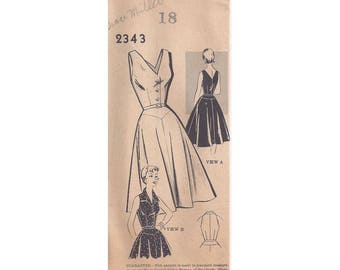 1950s 2343 Misses One Piece Dress Vintage Pattern Size 18