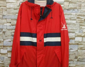 Vintage Helly Hansen Color Block Spell Out Waterproof Jacket Windbreaker Hooded Sailing Gear Helly Hansen Large