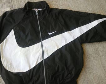 Vintage Nike Windbreaker Jacket Rare Black And White Nike Big Logo Nylon Nike Swoosh Hip hop Rap Swag Style
