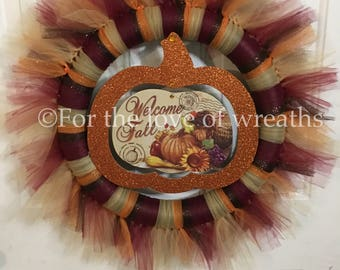 Welcome fall tulle wreath