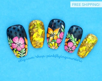 Tropical Flowers on Sheer Black press on nails