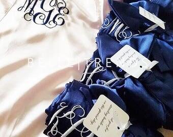 WEDDING SEASON SALE! Bridesmaid Robe, Satin Robe, Personalize Robe, Bridal Party Robe, Wedding Shower Robe, Set of 1,2,3,4,5,6,7,8,9,10