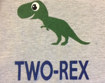 Two-Rex 2nd Birthday Dinosaur Shirt