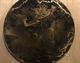 Lunar art, modern art, abstract art, resin art, wall art, wall decor, acrylic art, circle art, planetary, black and gold, gold accent
