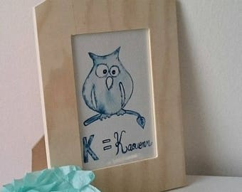 "Wood frame, ""K = Kaouenn"", watercolor, owl, blue, breton frame, painting watercolor souvenir Bretagne, Brittany, Christmas gift"