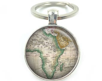 World map keyring etsy africa map keyring world maps vintage maps gifts for him gifts for gumiabroncs Image collections