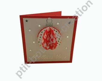 Red greeting card Christmas ball