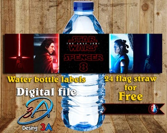 Personalized water bottles labels Star Wars the last jedi + Flags for your straws, Star wars last jedi, Star wars Party, Star Wars