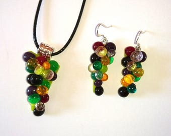 GRAPE cluster earrings and fusing glass pendant