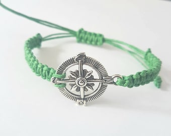 Nautical compass braid bracelet