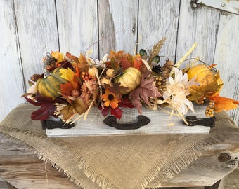 Autumn Arrangement in Distressed Box, Fall Pumpkin Centerpiece with Cotton Pods, Thanksgiving Table Arrangement, Harvest Centerpiece