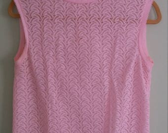 60s vintage pink tank top sleeveless sweater vest