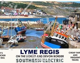Vintage Style Railway Poster Lyme Regis Dorset A3/A2 Print