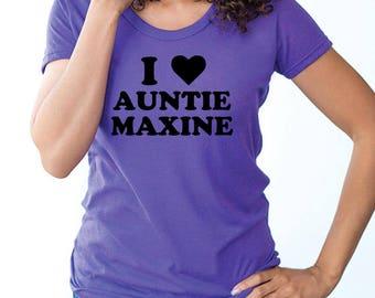 I HEART Auntie Maxine T-shirt Purple Screen Printed Women Woman America I love Maxine Waters Black History Activist Resist Trump