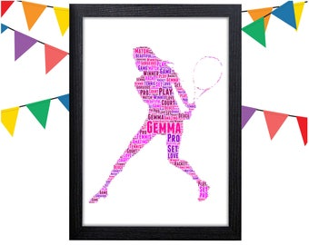 Personalized Gift Tennis Gift For Tennis Player Gift Tennis Wall Art Wall Prints Wall Art Wall Decor Personalised Gift Wall Art Prints