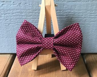 Maroon Pin Dot Dog Bow Tie