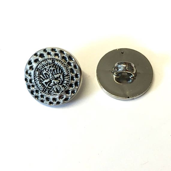 10 silver buttons metallic buttons 15mm round buttons for Decorative buttons for crafts