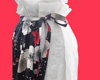 Long skirt long White flowers black skirt with flowers longue jupe noire blanche avec des fleurs