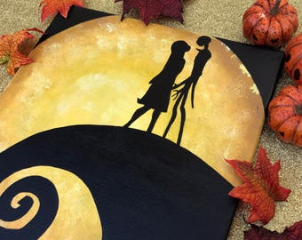 """Simply Meant To Be"" - Painted Canvas Inspired by Tim Birton's The Nightmare Before Christmas"