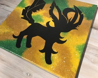 """""""Shiny Leafeon"""" - Painted Canvas Inspired by Pokemon"""