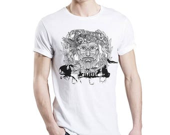"""The Old Norse 2 - Viking Shirt """"The wind my veer"""" - hand drawn and unique"""