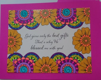 God's Best Gifts He Blessed Me With YOU Card, Handmade Notecard, Greeting Card for Friend or Family