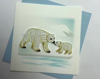 Polar Bear Quilling Greeting Card