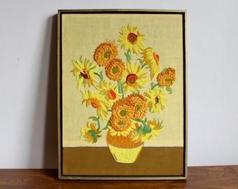 Vintage Framed Needlepoint of Van Gogh's Sunflowers, Cross Stitch, Craft, Woven Art, Textile Art, Boho, Bohemian 70s, 1970s