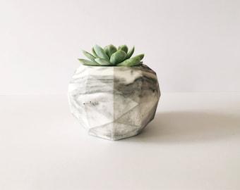 Geodesic Sphere Concrete Planter   Includes Succulent