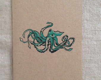Octopus Green Card, greeting card, blank card, kraft paper, rustic card, raw, any occasion card, organic card, nature, sea creature card