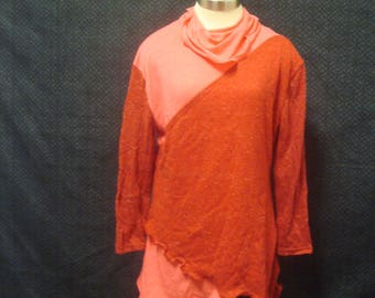 Womens  Turtleneck Knit Top Sz XLarge Cotton Ruffled Long Sleeve Red
