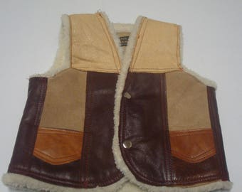 Childs Leather and Shearling Western Vest Cowboy Sz Medium Brown