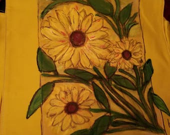 a yellow handpainted messager bag