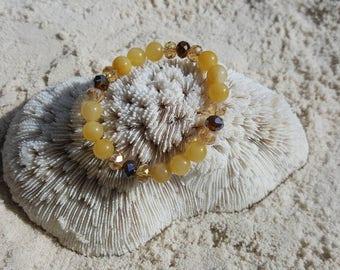 Yellow Jade and fired Czech glass crystal stretch bracelet