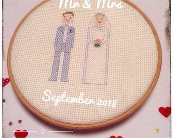 Personalised Bride & Groom Wedding Cross Stitch Gift - Handmade - Bride - Groom - Wedding Present - Anniversary - Valentine's - UK Free Post