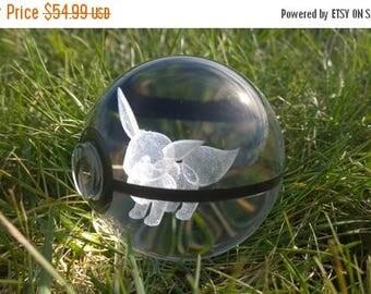 Sale Crystal Glass 3D Laser Engraved Pokeball (Eevee)