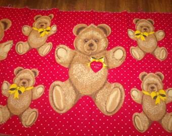 Teddy Bear Pattern - Fabric Panel - Hallmark - 1980s - Applique - Apparel Art